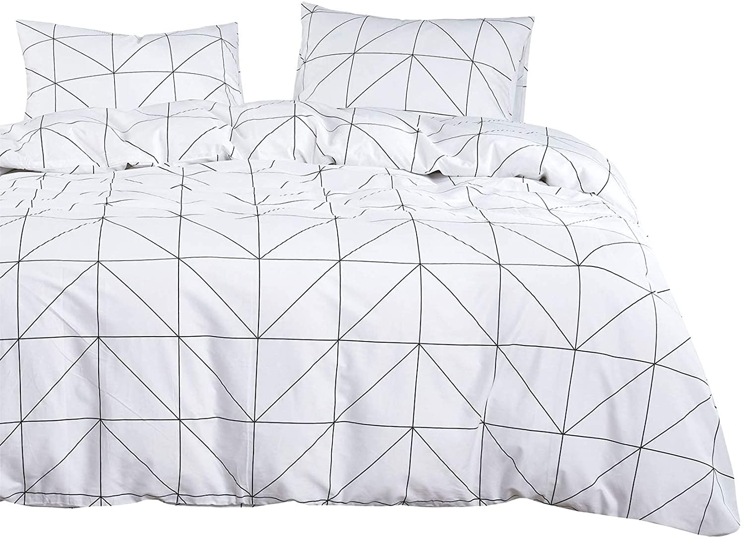 Wake In Cloud Geometric Duvet Cover Set 100 Cotton Bedding White Black Geometric Modern Pattern Printed Zipper Closure 3pcs Queen Size Amazon Ca Home Kitchen