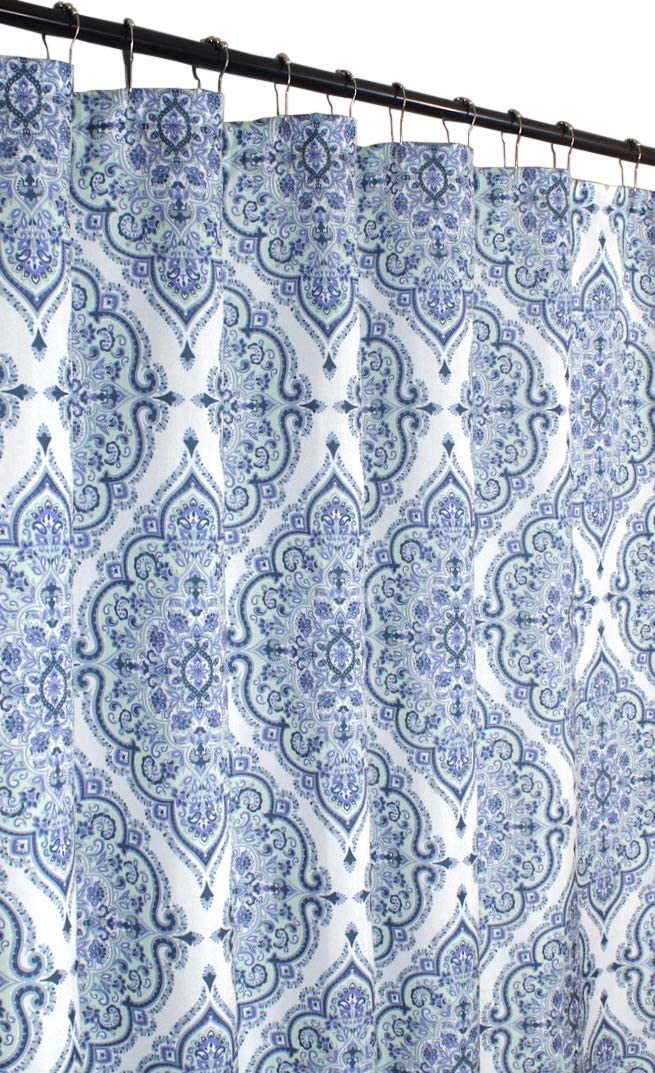 VCNY Home Blue Purple Gray Green Fabric Shower Curtain: Floral Geometric Damask Design