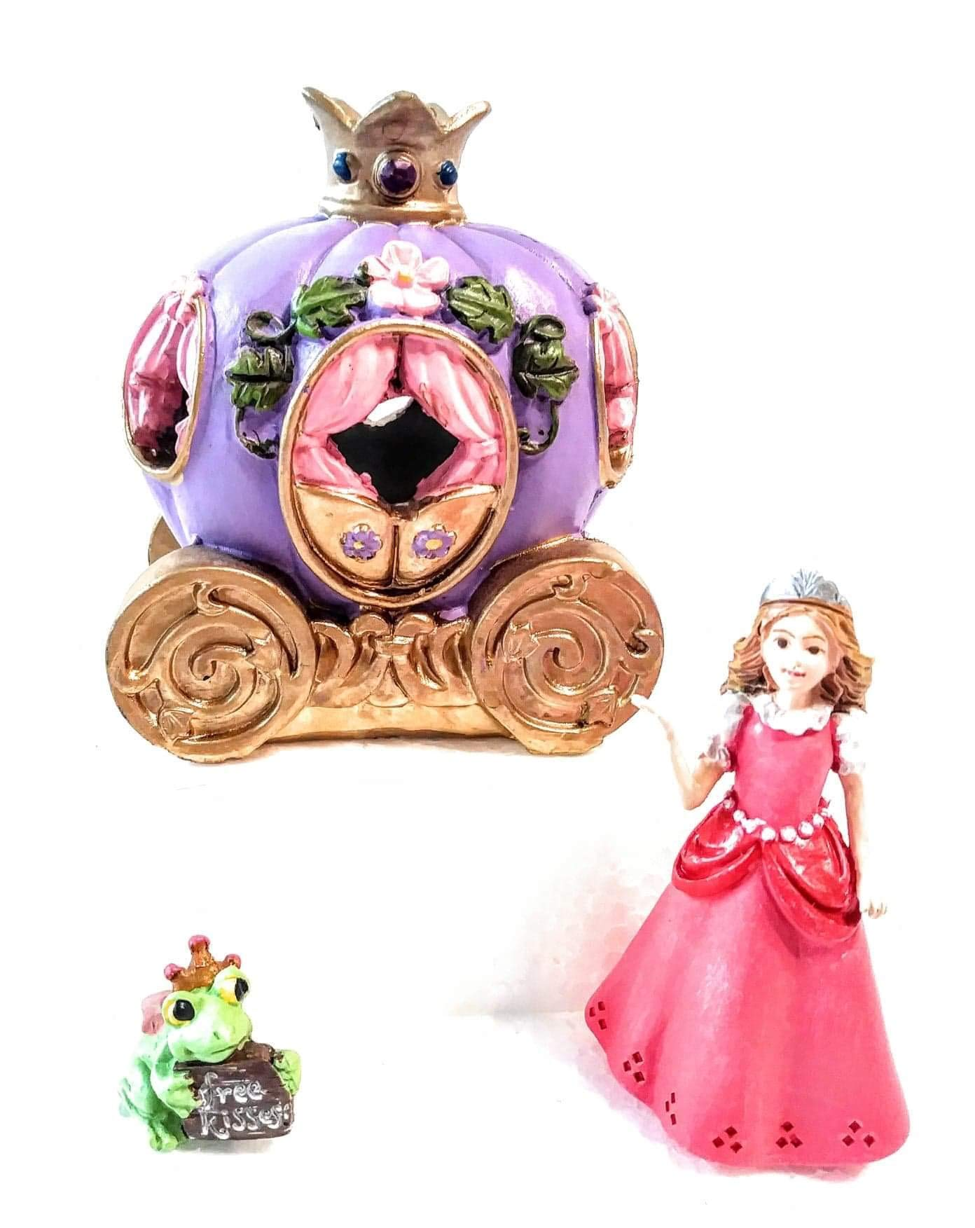 Cinderella Carriage with Princess in Pink Dress and Frog Prince Holding a ''Kiss Me'' Sign