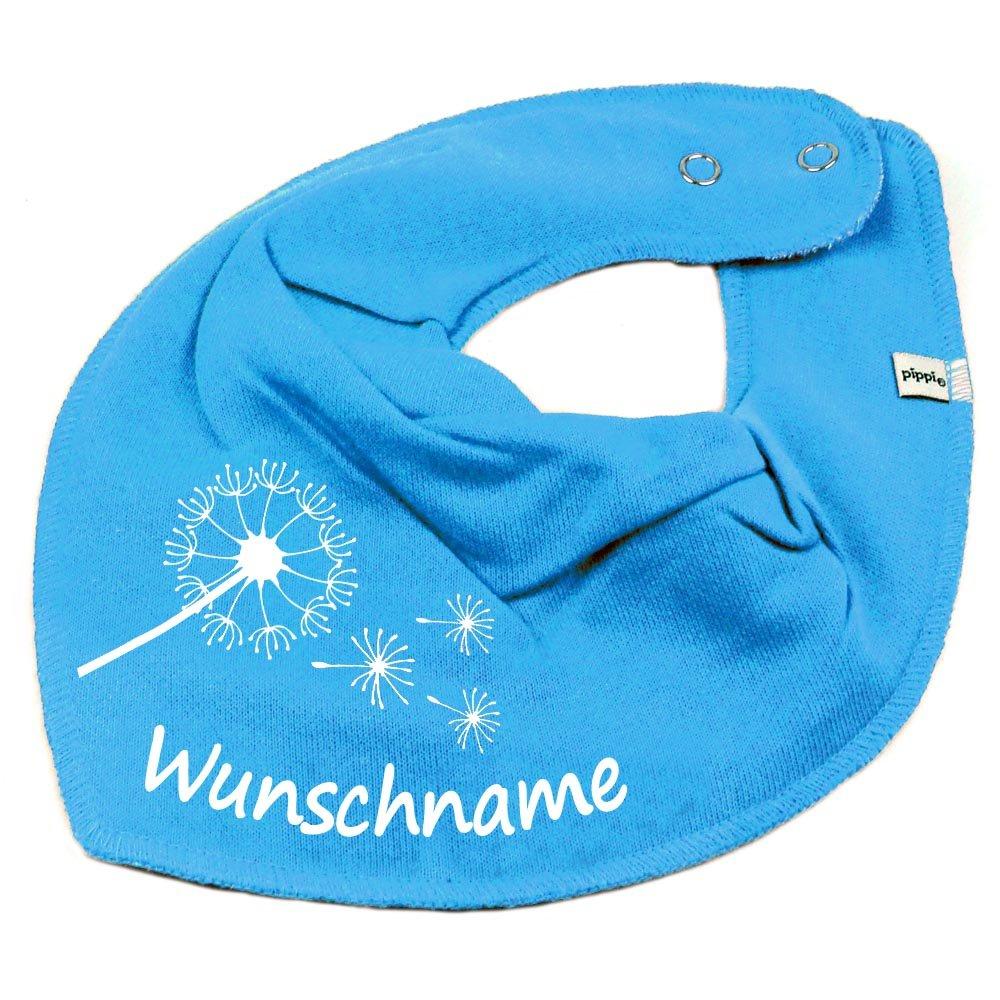 HALSTUCH PUSTEBLUME mit Namen oder Text personalisiert khaki für Baby oder Kind Elefantasie