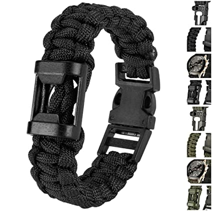 Evike Multi-Function Survival Paracord - Bottle Opener Bracelet -  Black 9 quot  - a43708685ab