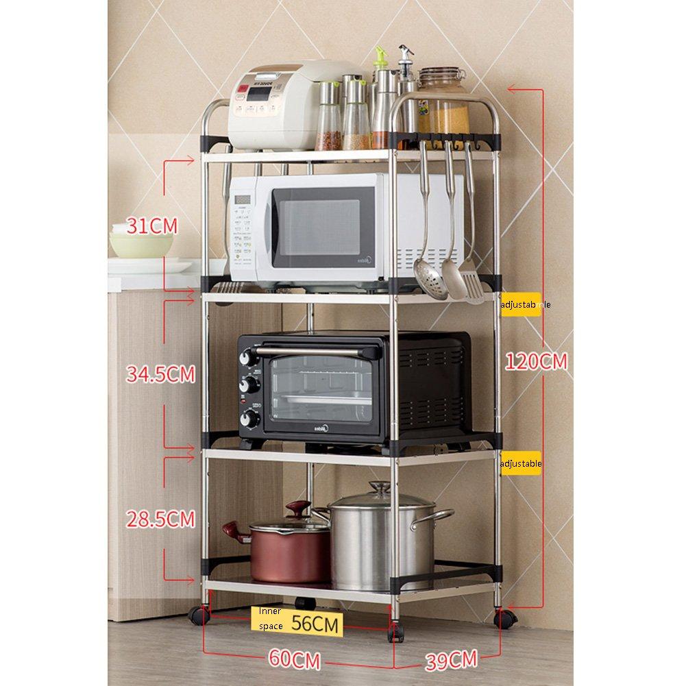 LXLAステンレス製のキッチンシェルフ4層マイクロ波オーブンラックストレージシェルフ床用マルチ機能用品金属多層4層60 * 39 * 120 cm ( 色 : No cutlery box ) B07C1NJ96J No cutlery box No cutlery box