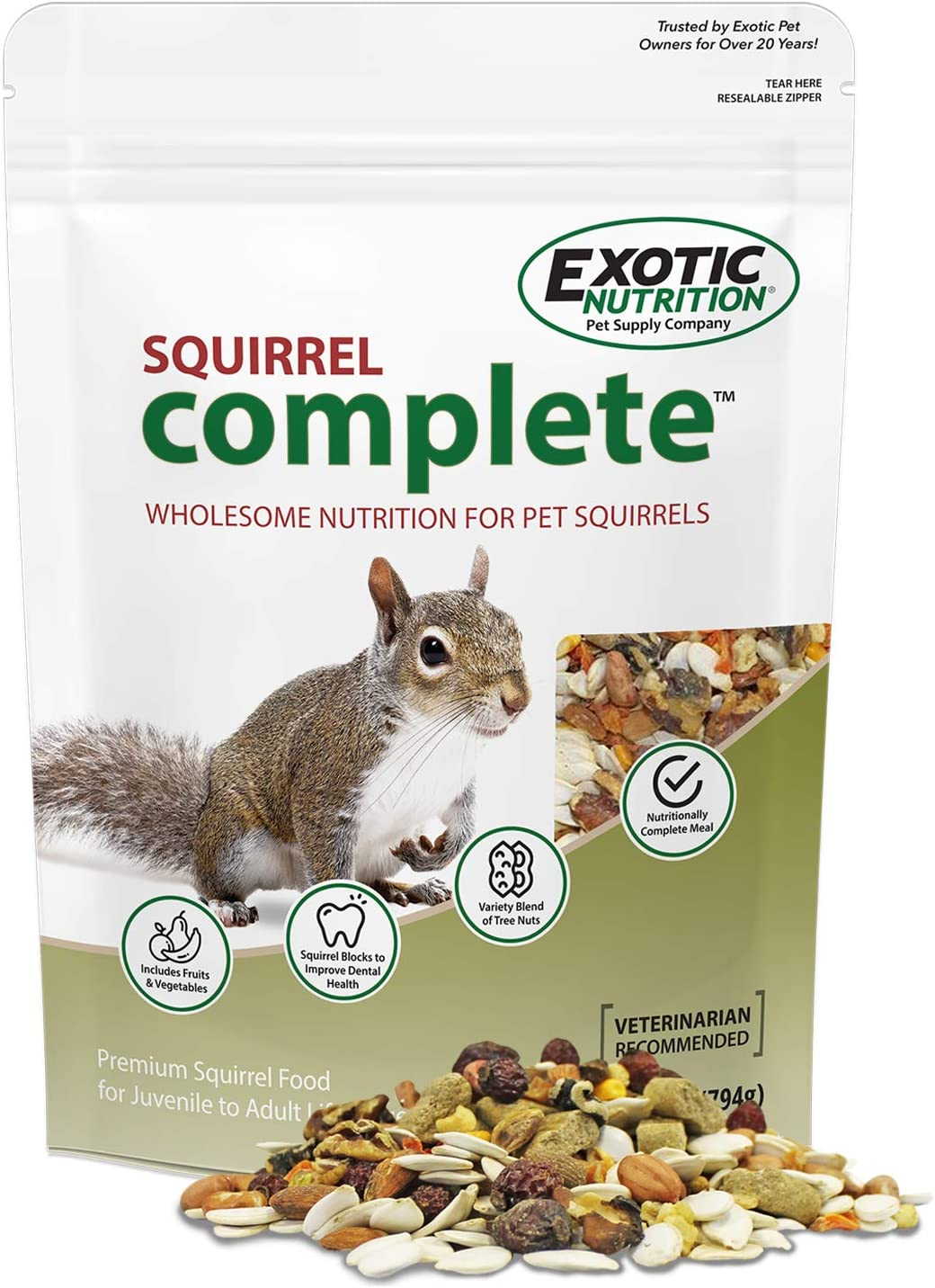 Squirrel Complete - Healthy Natural Food - Nutritionally Complete Diet for Pet & Captive Squirrels - Ground Squirrels, Grey Squirrels, Flying Squirrels, & Chipmunks