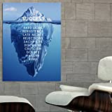 Poster Success Inspiration Motivation Iceberg 24x36 Inch (60x90 Cm) Canvas  U0026 Stretcher Bars Frame Part 34