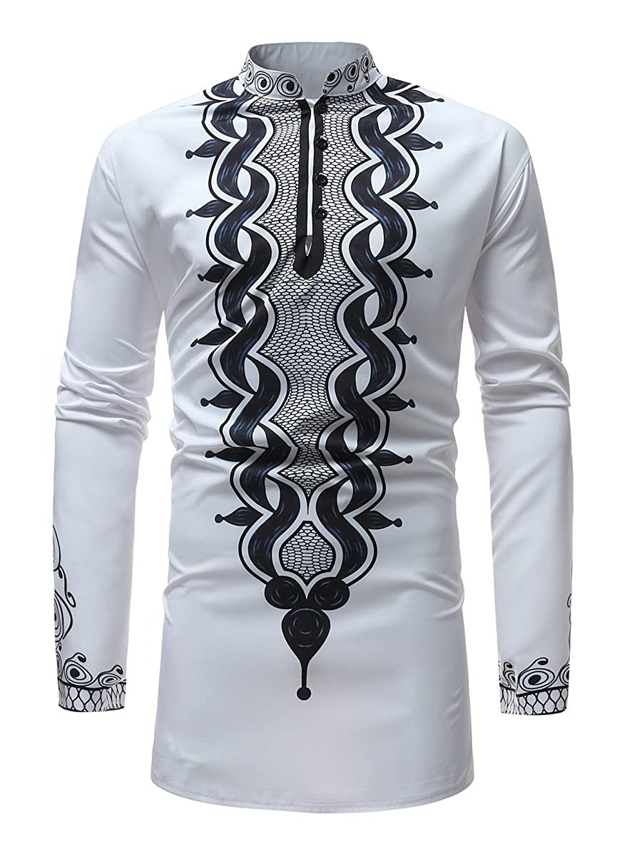 Luxfan Mens African Clothing Tribal Dashiki Traditional Maxi Stand Collar Long Sleeves Dress Shirt Plus Size (White, XXXL)