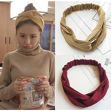 5d8b8d756 Amazon.com : HaloVa Headbands, Elastic Cross Head Wrap Hair Bands Headwear  Turban Hair Accessories for Women and Girl, Handmade Cloth Art, Wine, ...