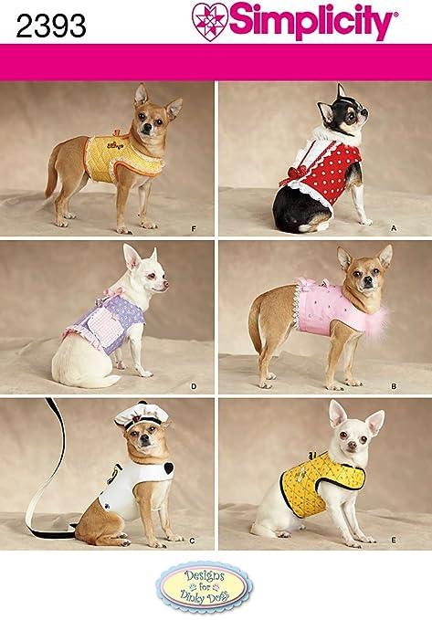 Simplicity 2393 - Patrones de costura para hacer ropa de perro (tallas XXS, XS