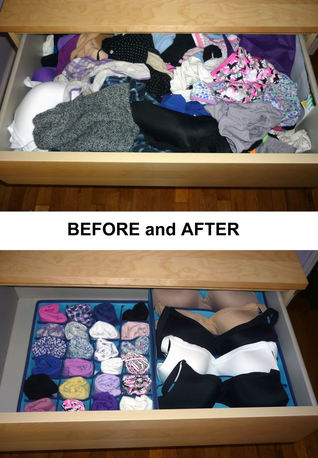 Best Underwear Organizer for College Dorm, Aqua Blue Dresser Organizer for Girls Bras up to Size 42D, Four Collapsible Boxes, Great for Organizing Socks, Lingerie by Mirella's House (Image #8)