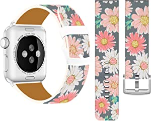 Bands Compatible with Iwatch 38mm/40mm & Cisland Leather Strap Compatible with Apple Watch Series 1/2/3/4/5/6/SE Sport & Edition Vintage Daisy Painting