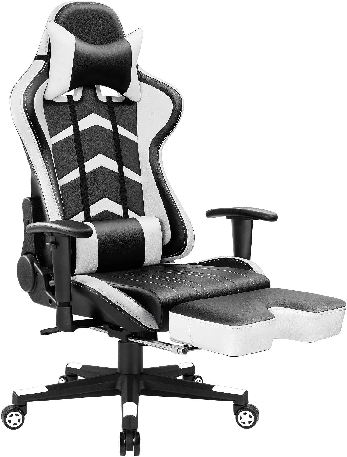 Furmax Gaming Chair High Back Office Racing Chair, Ergonomic Swivel Computer Chair Executive Leather Desk Chair with Footrest, Bucket Seat and Lumbar Support (White)