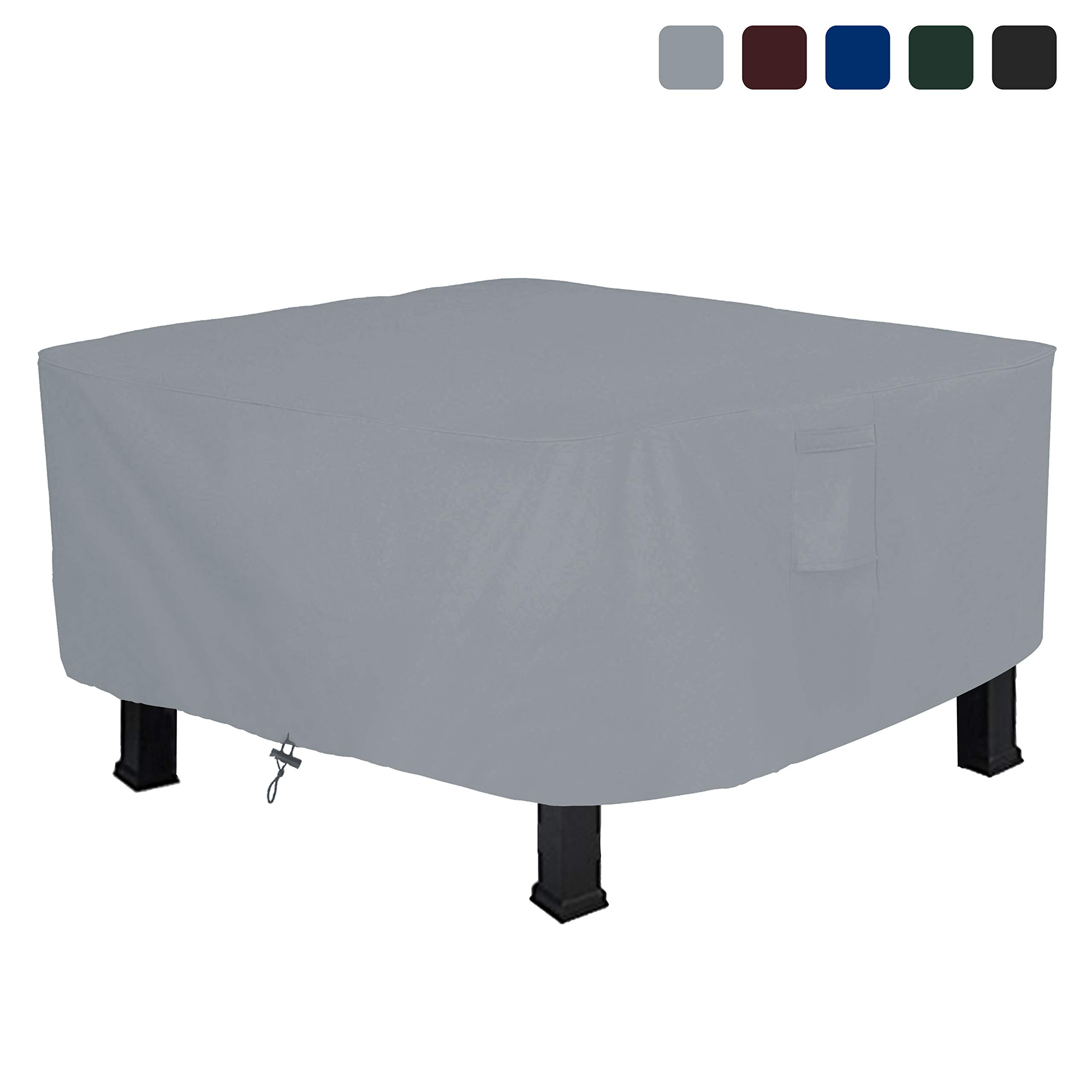 Fire Pit Cover Square 18 Oz Waterproof - 100% UV & Weather Resistant Custom Size Gas Fire Pit Cover with Air Pockets and Drawstring for Snug Fit (52'' L x 52'' W x 22'' H, Grey) by Covers & All