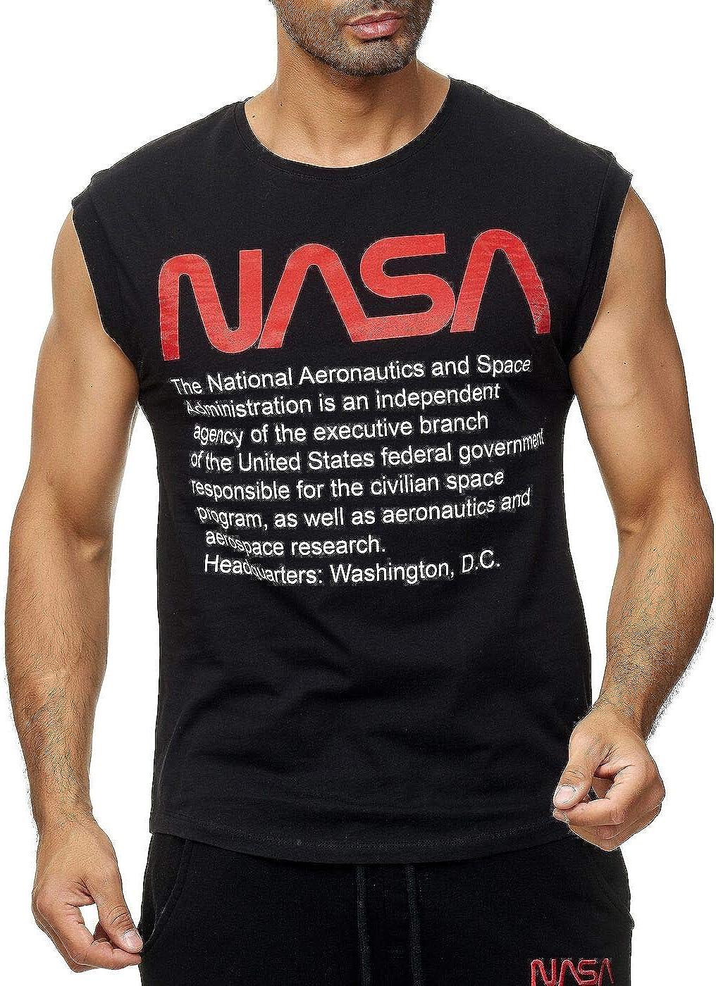 Red Bridge Canotta da uomo NASA Logo USA senza maniche cotone M1838