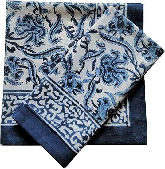 Amazon Com Atosii Midnight Bloom Home Linen 100 Cotton Cloth Napkins 20 X 20 Inch Blue Oversized Dinner Napkins Set Of 4 Handmade Floral Indigo Block Print Designer Napkins Perfect For Gifting Home Kitchen
