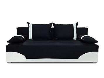 Bettsofa Schlafsofa Sofa Dario Klappsofa Mit Schlaffunktion Und Bettkasten Schlafcouch Couch Couchgarnitur Sofagarnitur Schwarz Weiss Neo 15