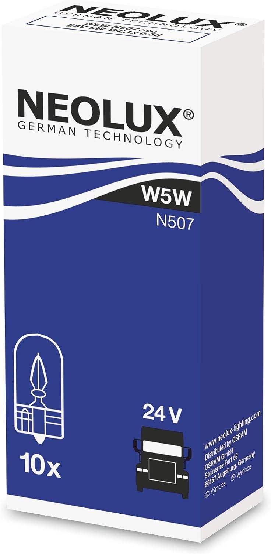 NEOLUX Standard W5W, lámpara de señal para camiones, N507, 24 V, 5 W, (paquete de 10 bombillas)