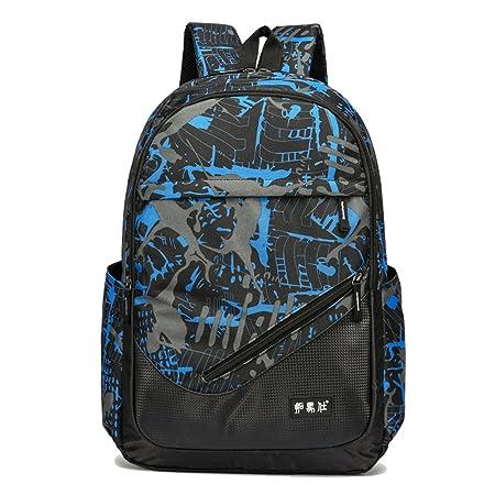Maod juveniles Backpack Impermeables Mochila de Ordenador Impresión Bolsos Escolares portatil mochilas escolares 15.6 Pulgadas mochila (Azul)