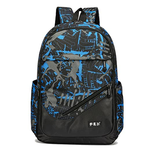 Maod Printed Nylon Water-resistent Daypack Casual School Backpack Adolescent Bookbag Men Shoulder Bag College