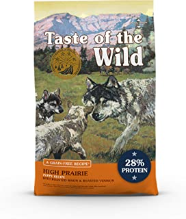 product image for Taste of the Wild High Prairie Canine Grain-Free Recipe with Roasted Bison and Venison Dry Dog Food for Growing Puppies, Made with High Protein from Real Meat and Guaranteed Nutrients 14lb