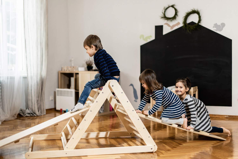 Pikler-Dreieck, Schrittdreieck, Kletterleiter für Kleinkinder, Kletterdreieck für Kleinkinder,Sie können Dreieck ohne Brett oder mit einem oder zwei Brettern in den Optionen wählen.