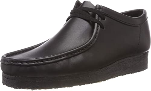 clarks wallabee leather black