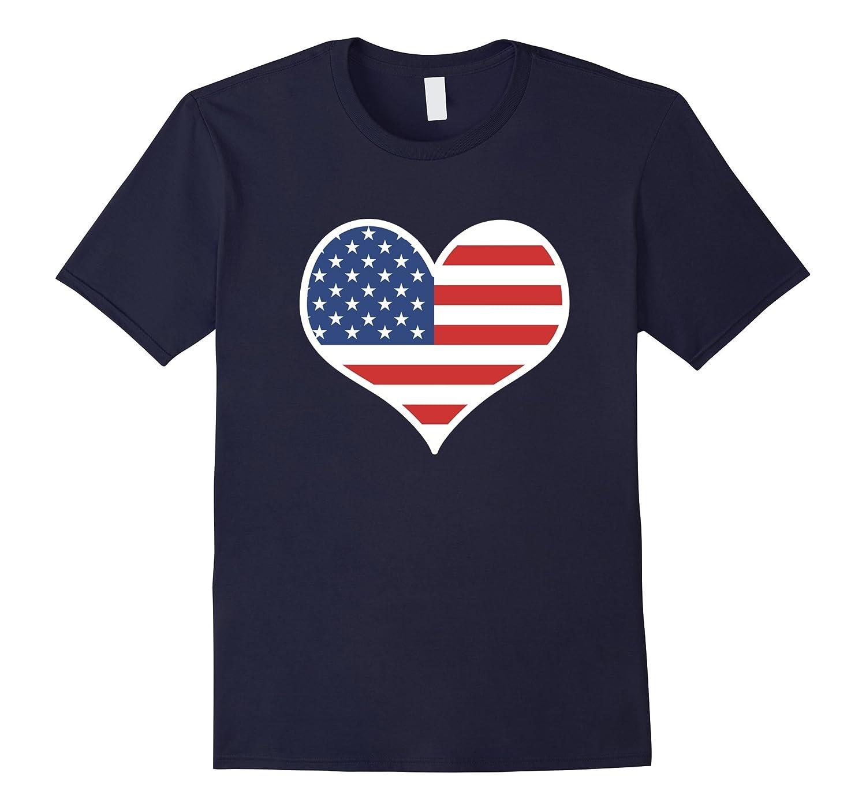 American Flag Heart Shirt - July 4th TShirt I Love USA-PL