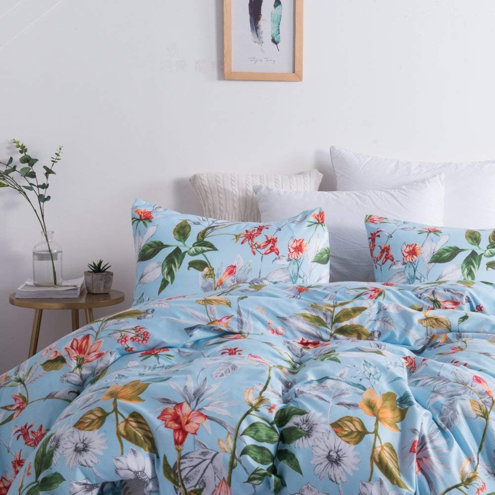 Leadtimes Queen Flower Duvet Cover Set, Girls Floral Leaf Sky Blue Bedding Set with Soft Lightweight Microfiber 1 Duvet Cover and 2 Pillowcases New Edition (Queen, Blue Floral) by Leadtimes (Image #4)