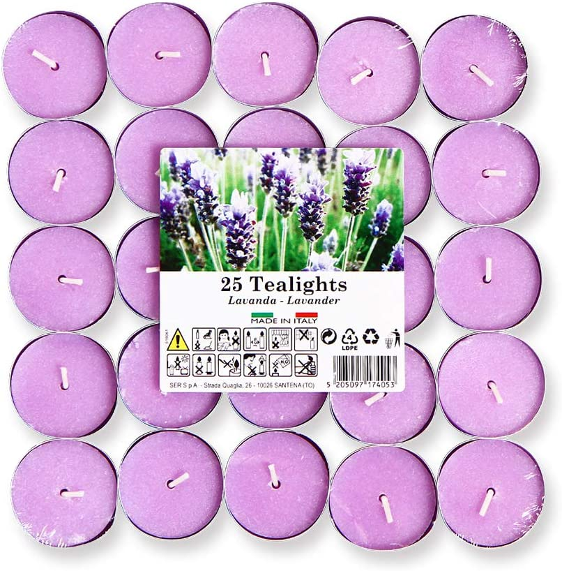 Cocod'or Scented Tealight Candles/Garden Lavender / 25 Pack / 4-5 Hour Extended Burn Time/Made in Italy