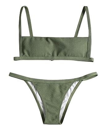 5f56be01bc ZAFUL Women s Ribbed Hook String Bikini Set Square Collar High Cut 2 Piece  Open Back Swimwear