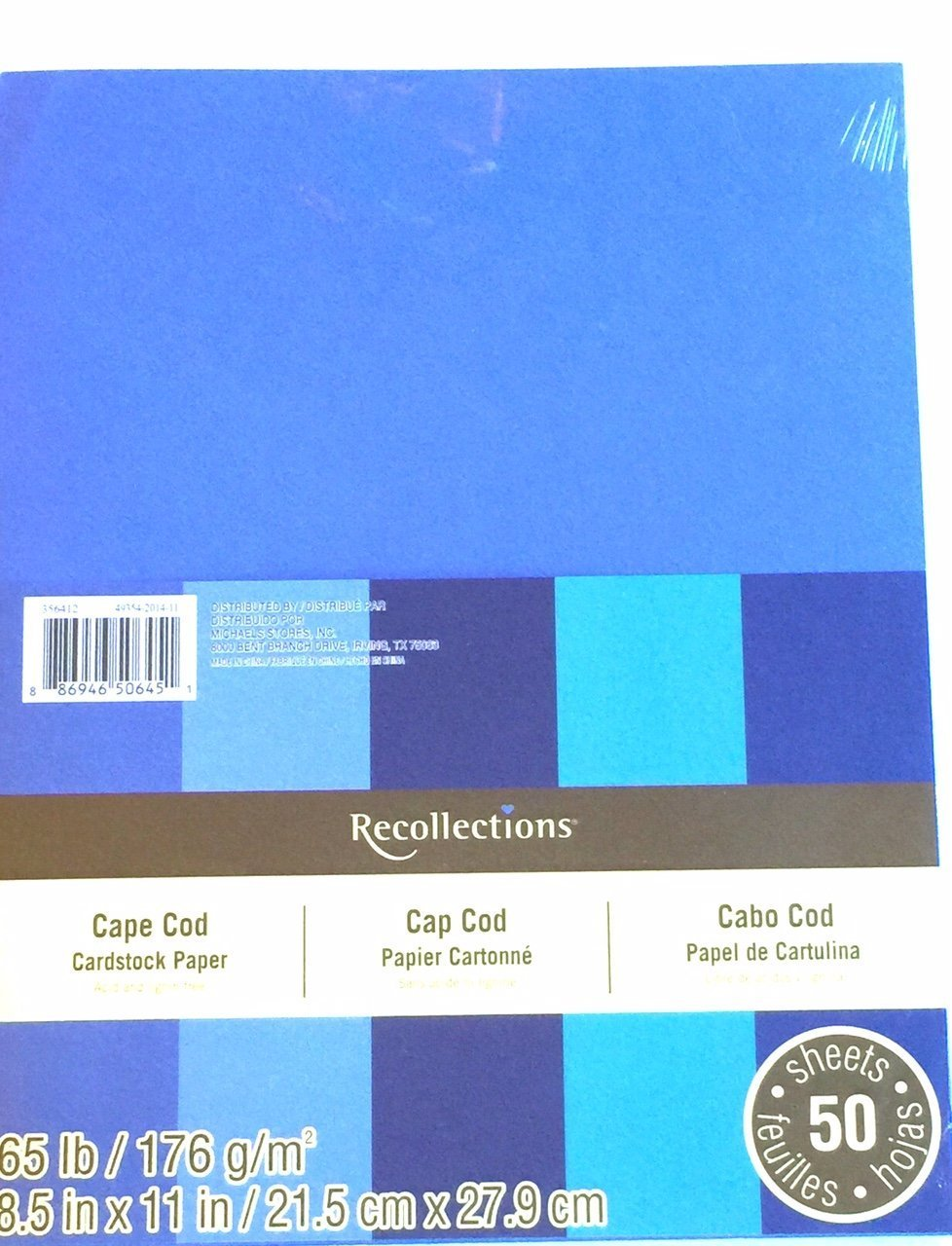50 Sheets 8 1//2 X 11 Cape Cod Blues Recollections Cardstock Paper