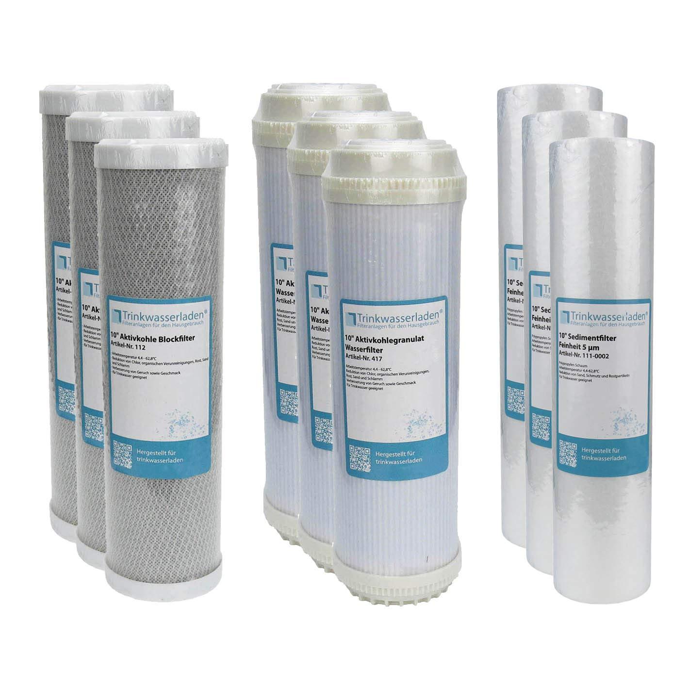 1,5 Jahre Filter Set 10 9-teilig Ersatzfilter Umkehrosmose RO Sediment Aktivkohle