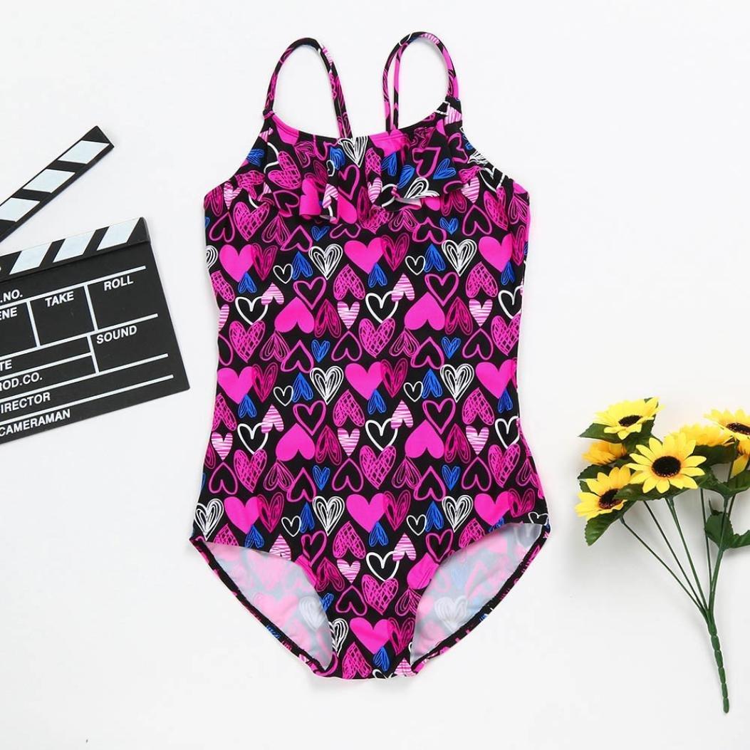 Love Heart Printed Straps Bikini Bathing Swimsuit Jarsh Baby Girl One Piece Swimwear