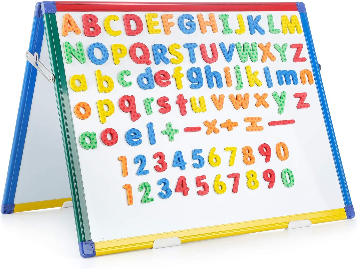 Swansea Tabletop Whiteboard Magnetic Dry Erase Wipe Planning Board with 82Pcs Foam Magnets,24x18inch