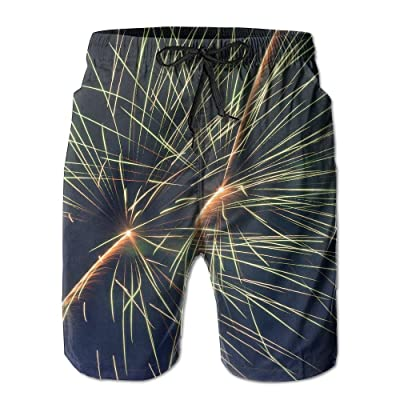 DIMANNU Men's Shorts Swim Beach Trunk Summer Firework Athletic Classic Shorts With Pockets