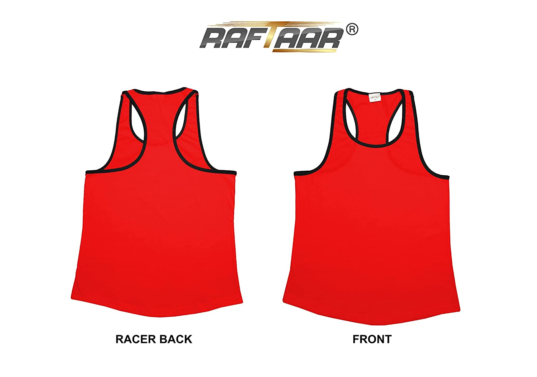 Raftaar/® Unisex Black Lined Gym Stringer Muscle Vest Tank Top Sports Top Bodybuilding Racer Back Singles