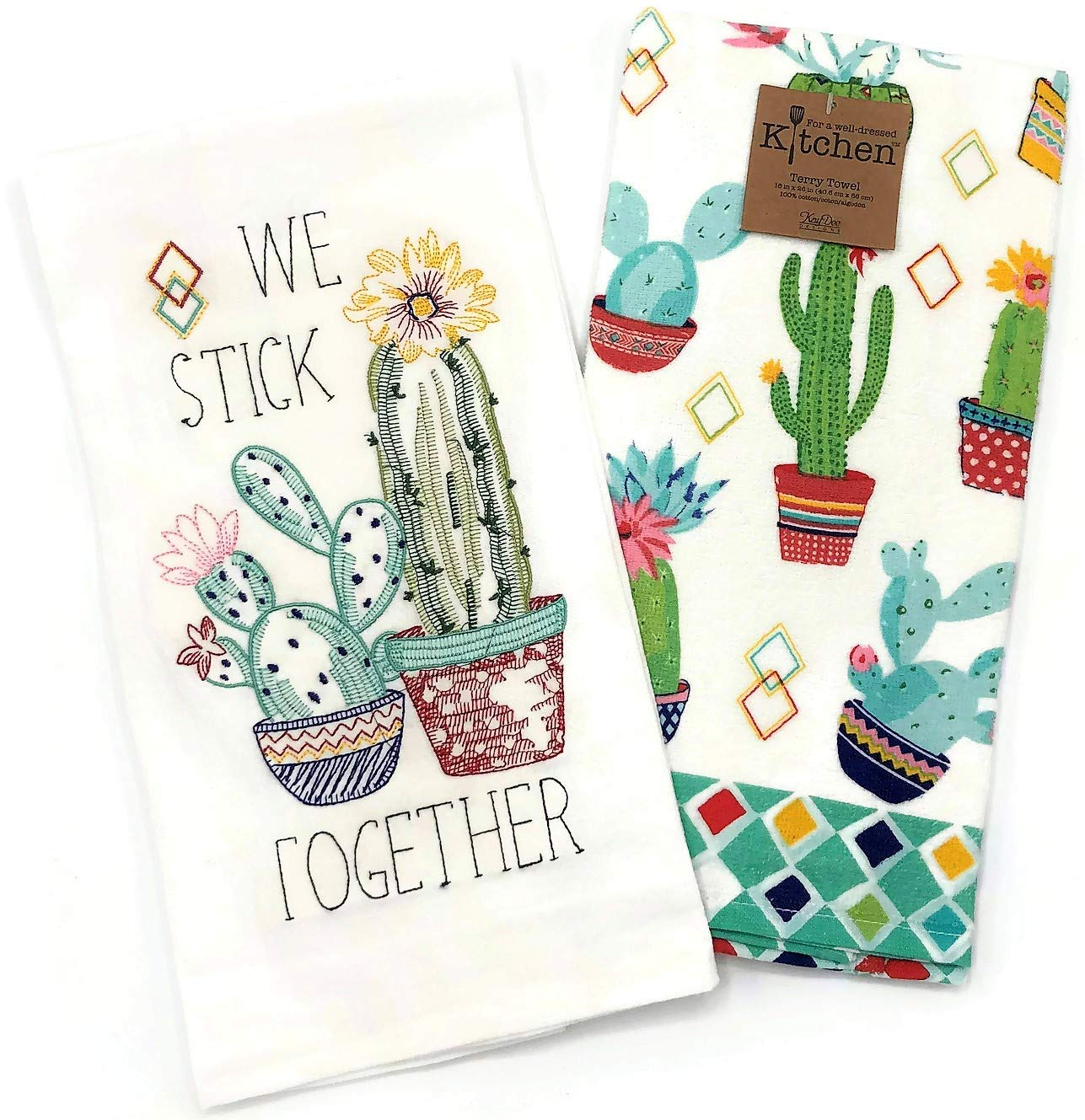 Kay Dee Designs Cactus Garden Embroidered Flour Sack Towel and Terry Towel Set