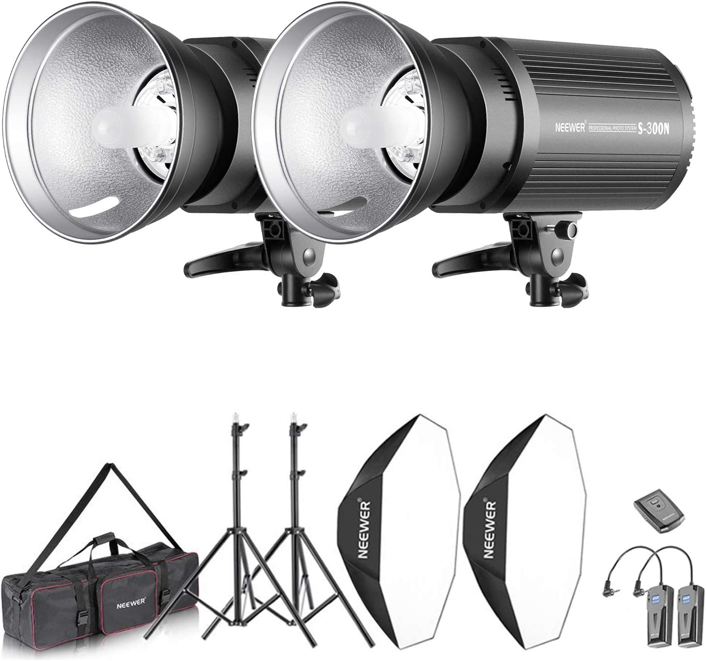 Neewer Flash Estroboscópico 600W Kit Iluminación:(2)300W Monoluz (2)Reflector (2)Soporte de Luz (2) Softbox (2)Lámpara de Modelado (1)RT-16 Disparador Inalámbrico (1)Bolsa