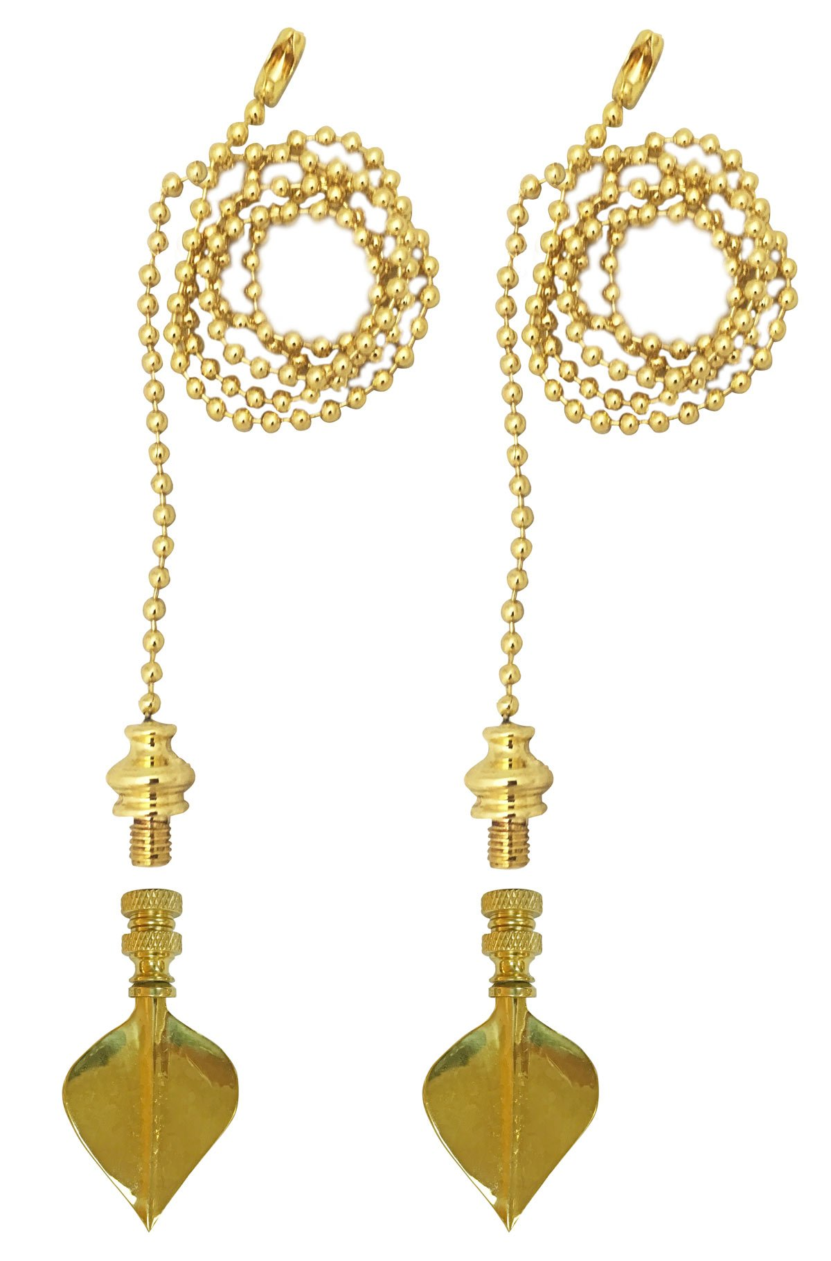 Royal Designs Fan Pull Chain with Spade Leaf Finial - Polished Brass - Set of 2