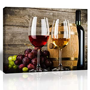 Purple Verbena Art 1 Piece Canvas Wall Art Red Wine Galsses & Grapes with Wooden Background Wall Decor Grape Pictures Stretched and Framed Vintage Kitchen Decorations 12 X 16 in