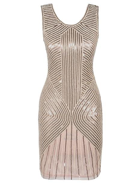 kayamiya 1920s de la mujer vestido con cuentas Lentejuelas Embellished trampa vestido de noche - Beige