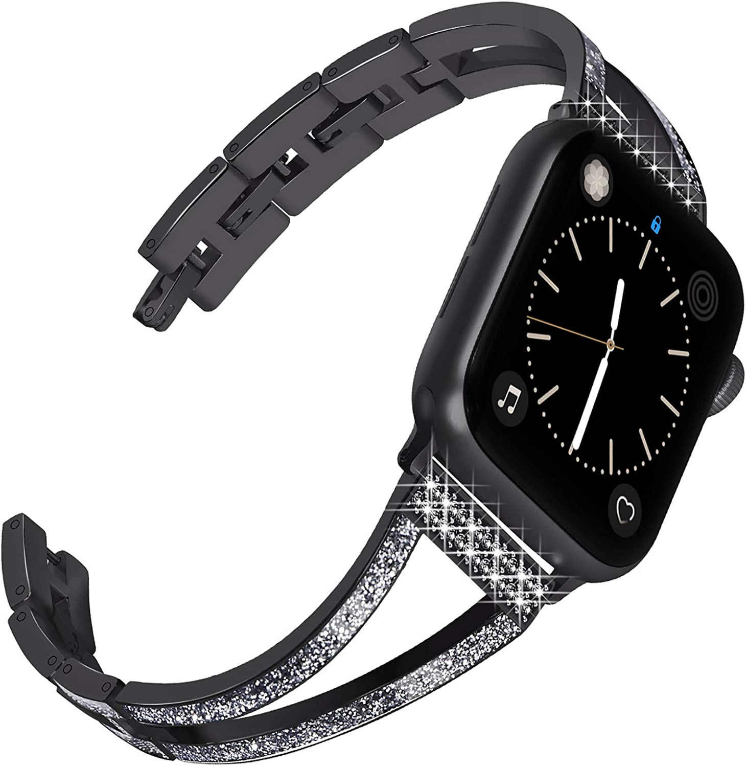 Surace Compatible with Apple Watch Bands 38mm Women Series 3 Cuff Bracelet Replacement for Apple Watch Bands Series 6 Series 5 Series 4 40mm Compatible with Apple Watch SE Band, Black