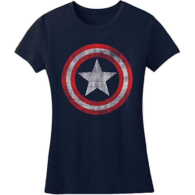 48deb3d8f Juniors: Captain America- Distressed Shield Juniors (Slim) T-Shirt Size XXL