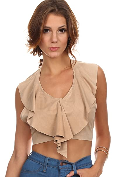 4dfba3fe199cd8 Patty - Tan Brown Faux Suede Ruffled Halter Style Tie Back Flowy Cropped Top