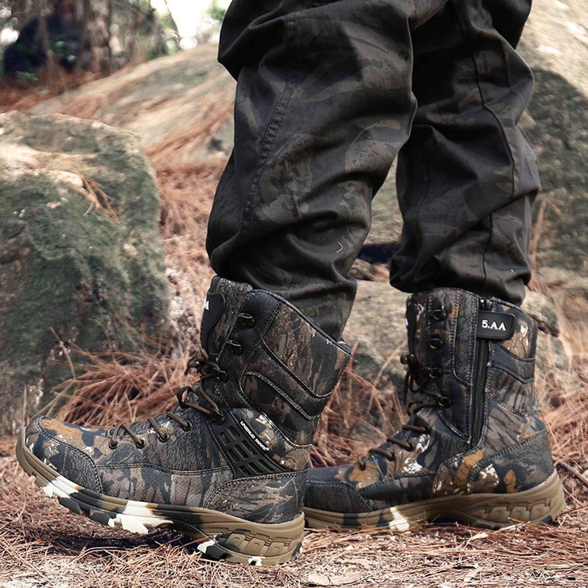 Botas Militares de Combate Impermeables para Hombres al Aire Libre Zapatos de Senderismo Altos para Entrenamiento t/áctico C/ómodas Botas de Trekking Camuflaje Transpirables