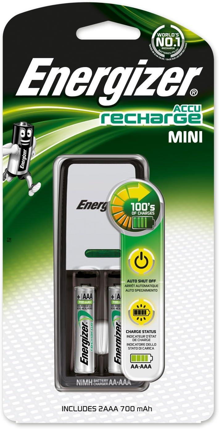 Energizer Accu Aufladen Mini Ladegerät Für AAA Aa /& 2 Aa 2000mAh Batterien Neu