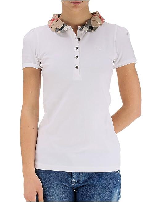 BURBERRY Brit - Polo pour Femme YNG81270 - Blanc, M  Amazon.fr ... 56c5dfbcaa2e