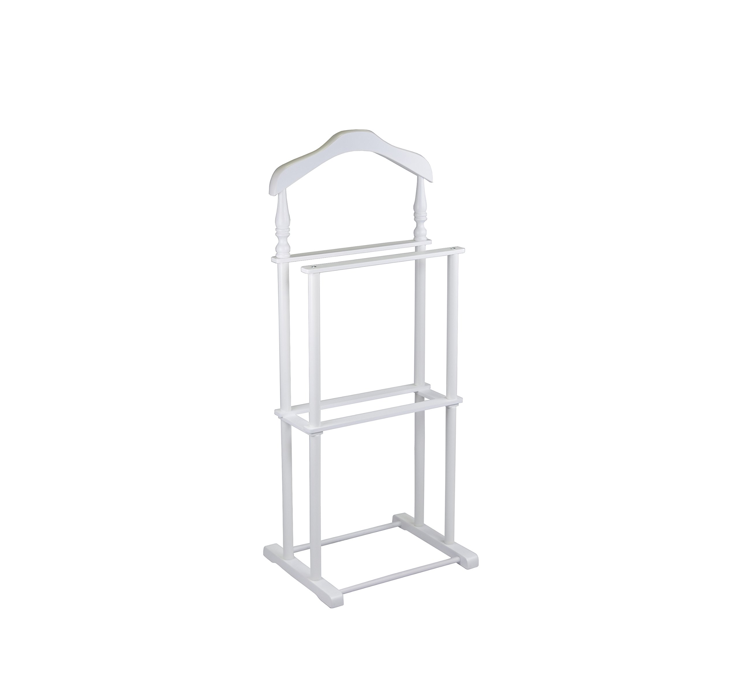 Proman Products Twin Valet Stand in White Wood and Coated Metal Legs