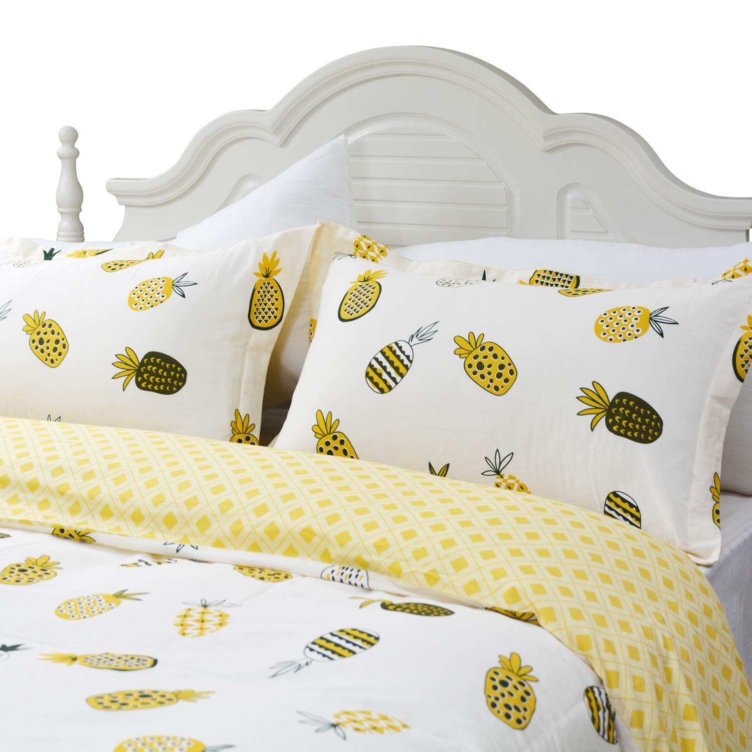 Twin Size, Simple Style FADFAY Butterfly Print Duvet Covers Pink Floral Cotton Girls Bedding Set 3 Pieces 1duvet Cover /& 2pillowcases