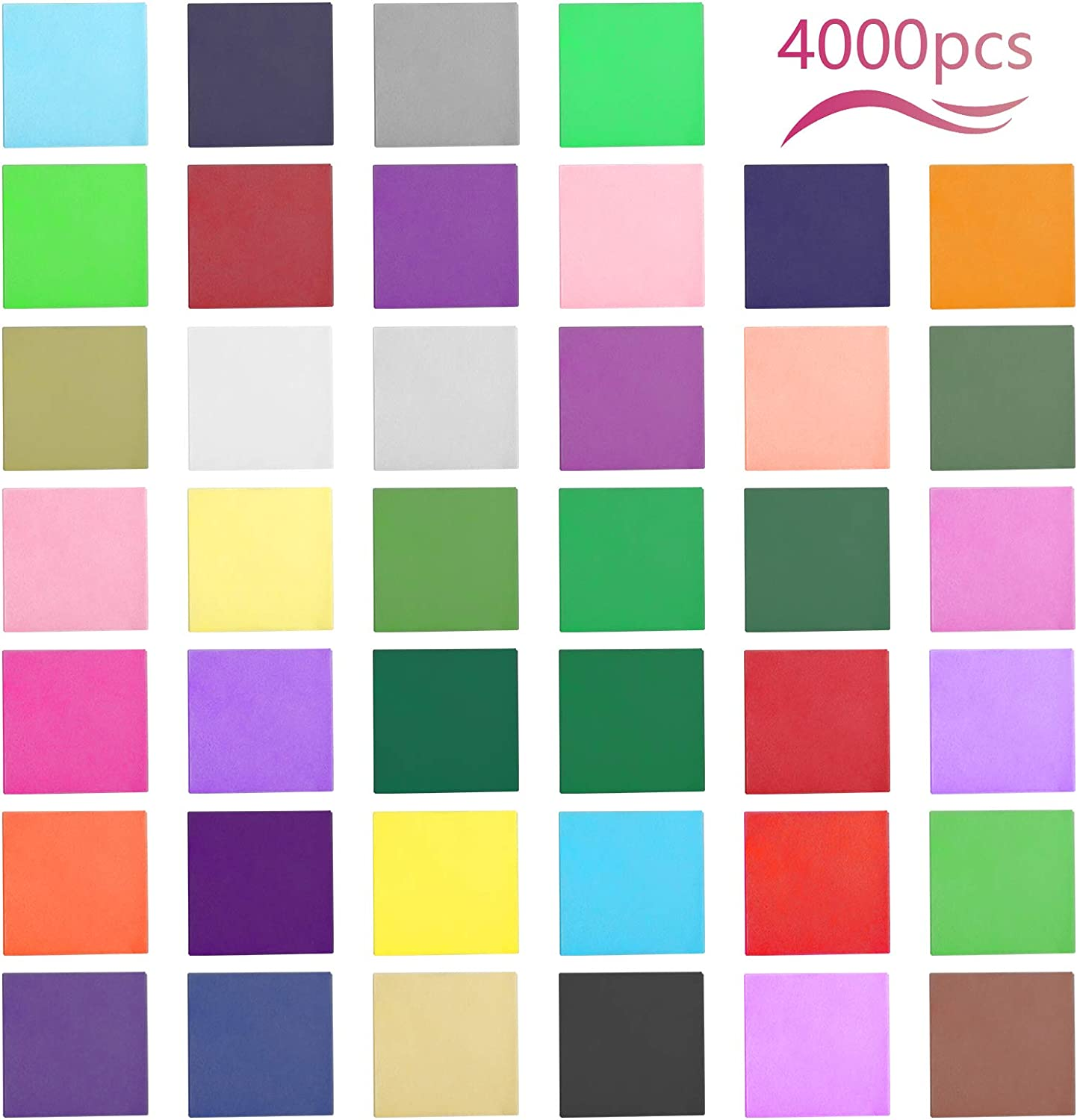 LAITER 4000 Pieces Small Tissue Paper Squares 40 Multi Coloured Mini Craft Tissue Paper Gift Scrapbooking Embellishments Handcrafts Paper DIY Art Projects Supplies 2 x 2 inch