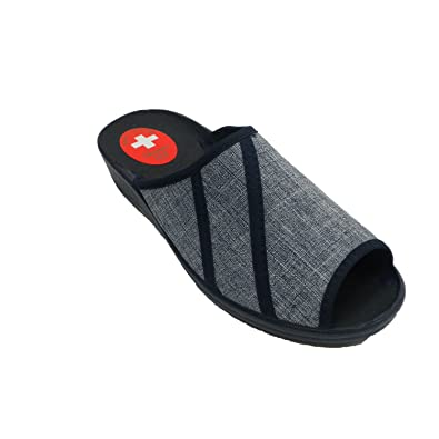 Made In Spain Schuhfrau Offene Zehe und Ferse mit Streifen Hinten Muñoz y Tercero Blau Größe 39 YJh3Bzb5l
