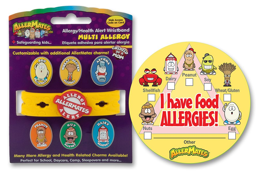 AllerMates Multi Allergy Charm Wristband Kit with Checkbox Stickers, I Have  Allergies, Small